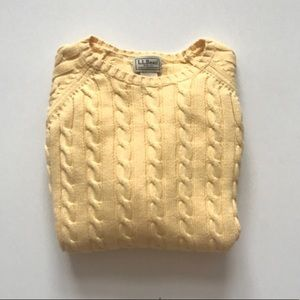L.L. Bean Light Yellow Cable Knit Sweater